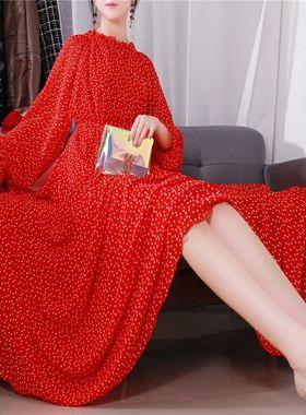 2021早秋新款红色连衣裙女雪纺长袖春夏长裙大码宽松显瘦碎花气质