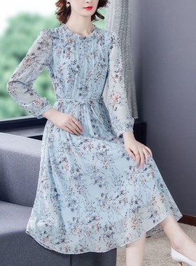 高档长袖碎花雪纺连衣裙女长款2021春夏新款宽松显瘦系带气质长裙