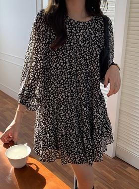宽松遮肚子显瘦连衣裙2021春夏新款雪纺a字裙小个子中袖碎花短裙