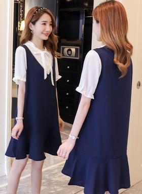 2021春夏新款孕妇职业面试装韩国版气质宽松短袖雪纺中长款连衣裙