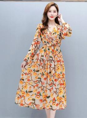 印花连衣裙2021春装新款雪纺复古女夏季长款宽松春秋爆款裙子高端