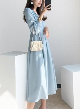 小翻领雪纺连衣裙女2021春夏新款收腰宽松显瘦纯色小清新中长裙