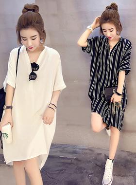 衬衫裙中长款短袖v领t恤女2021新款韩版大码宽松遮肚雪纺连衣裙夏