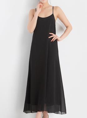 雪纺吊带连衣裙女夏新款韩版气质甜美显瘦小黑裙法式宽松大码长裙