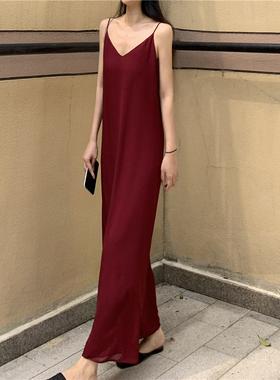 垂感吊带裙雪纺纯色夏 暗红色宽松遮肚子长裙 基础款纸片人连衣裙