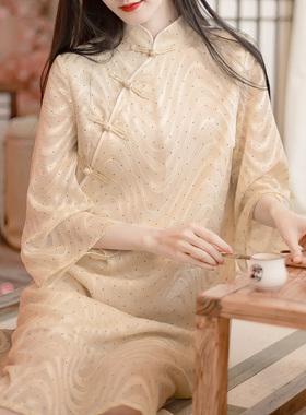 改良版复古国风春夏日常宽松中长款七分袖雪纺旗袍式禅茶服连衣裙
