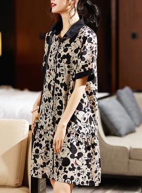 九月陌墨欧洲站夏装新款宽松显瘦减龄POLO领米奇印花雪纺连衣裙女