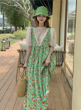 连衣裙夏季新款小清新甜美绿色碎花裙蕾丝长裙宽松雪纺吊带裙子女