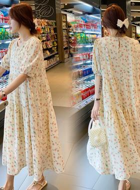 新款夏装韩版大码孕妇装套装上衣宽松短袖夏季碎花雪纺连衣裙长裙
