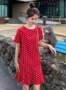 2021夏新款修身女装韩版宽松显瘦荷叶边鱼尾裙波点雪纺连衣裙短裙