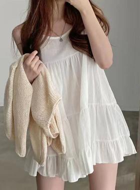 韩国chic夏季小众减龄圆领宽松荷叶边无袖雪纺背心娃娃连衣裙短裙