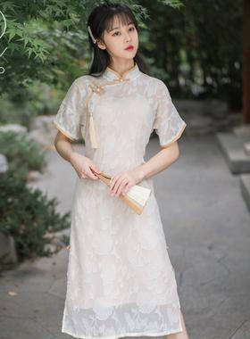 鎏金法式复古雪纺剪花宽松少女旗袍改良版中长款连衣裙两件套夏季