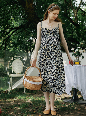 优密儿孕妇装夏装新品孕妇碎花雪纺吊带裙宽松孕妇连衣裙中长款