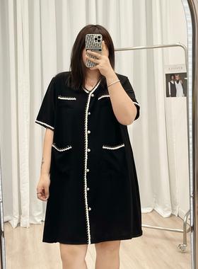 加大码女装V领雪纺裙子2021夏新款胖mm显瘦宽松短袖连衣裙女螺纹