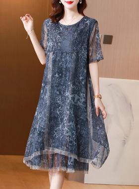 今年流行裙子贵夫人夏装雪纺宽松遮肚子妈妈夏季高端新款连衣裙女
