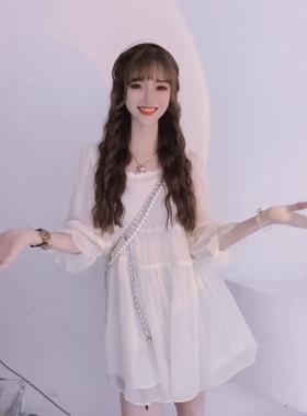 中长款雪纺网纱仙女裙温柔风甜美减龄宽松显瘦遮肉连衣裙2021夏季