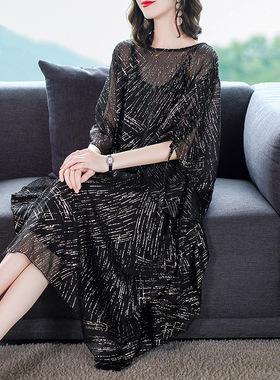 贵妇人雪纺连衣裙女夏装2021新款高端气质宽松大码夏季蝙蝠袖裙子