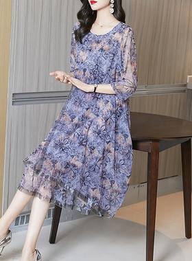 雪纺连衣裙女2021年新款春夏高端典雅女神范气质长裙宽松大码裙子