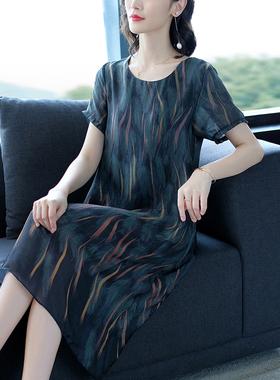 贵夫人妈妈雪纺连衣裙女夏季2021新款大码宽松高端气质超大摆裙子
