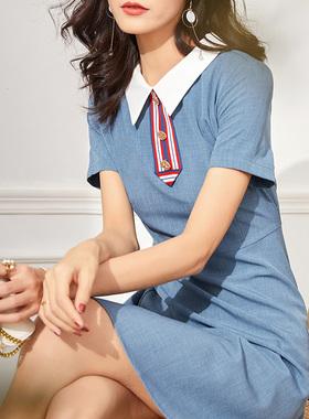连衣裙女2021夏季新款宽松时尚显瘦Polo领气质高端雪纺纯色A裙子