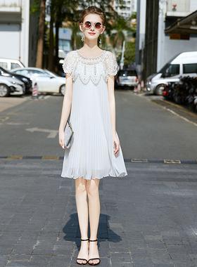 名媛气质宽松裙子女2021夏季新款高端重工钉珠白色雪纺百褶连衣裙