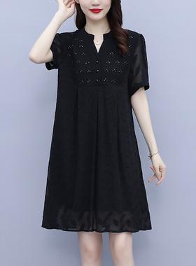 2021新款夏季雪纺连衣裙高端洋气大码女装宽松显瘦遮肚子名媛气质