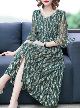高端连衣裙夏2021新款大码宽松遮肚收腰显瘦气质妈妈雪纺裙子高贵