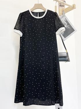 海之萍88260高端醋酸连衣裙女夏宽松遮肚波点点雪纺简约气质裙子