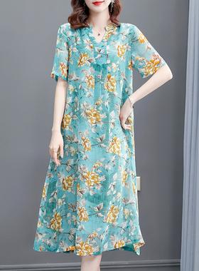 高端冰丝气质雪纺连衣裙女2021春夏新款宽松大码裙子洋气碎花长裙