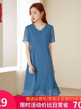 今年新款气质雪纺连衣裙薄款2021夏高端蕾丝中长款裙子女宽松大码