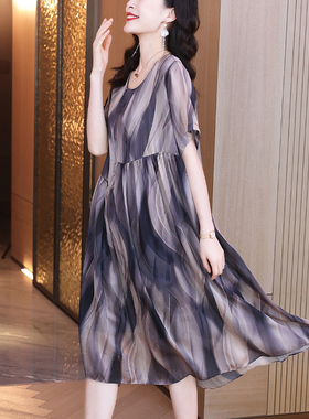 凯芙诺高端印花雪纺连衣裙2021夏新款宽松大码气质裙轻奢洋气裙子