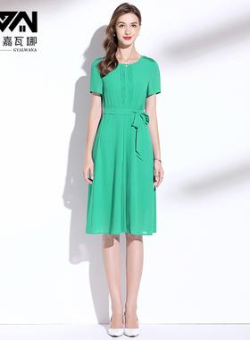 高端短袖雪纺连衣裙2021夏季新款绿色宽松系带减龄气质裙子女夏