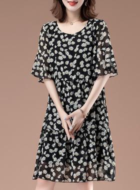 加大码连衣裙中年妈妈2021新款夏季高端气质时尚宽松遮肚雪纺长裙