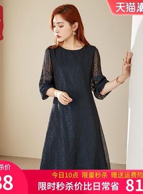 亦朵2021夏季新款时尚雪纺连衣裙女中长款气质宽松高端刺绣中长裙