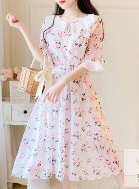 2021新款轻熟风连衣裙长裙女夏高端宽松大码雪纺气质碎花裙胖MM