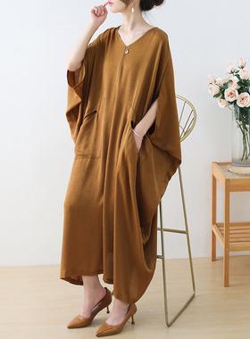 2021夏季高端大码真丝雪纺连衣裙复古宽松大版显瘦不规则气质长裙