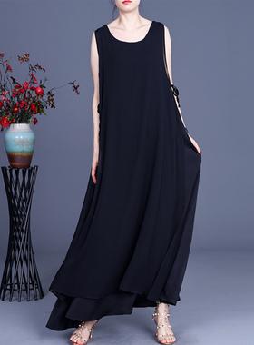 21夏季女大码文艺复古雪纺系带连衣裙高端气质宽松气质背心裙长裙