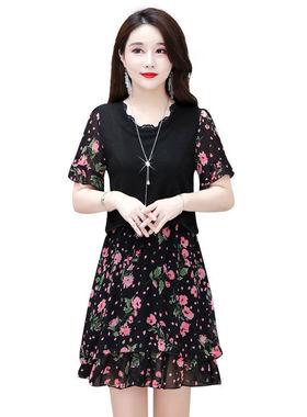 2021年新款夏季宽松大码气质高端妈妈装洋气中长款雪纺拼接连衣裙