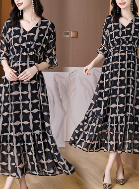 高端定制气质连衣裙2021夏新款V领宽松显瘦中长款雪纺裙子