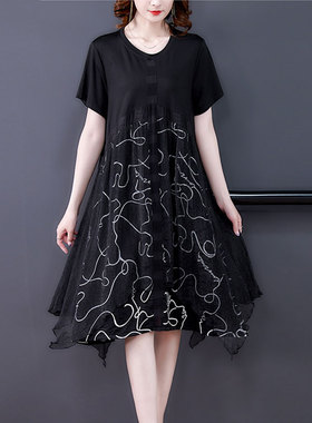 真丝短连衣裙夏季新款高端大码女装气质碎花裙子宽松显瘦雪纺裙潮