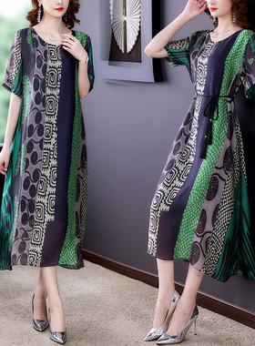 大码雪纺连衣裙2021夏季新款宽松时尚复古印花a字裙高端气质裙
