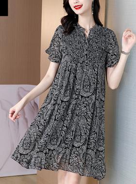 2021新款夏季雪纺连衣裙女薄款妈妈高端气质显瘦减龄宽松遮肚裙子