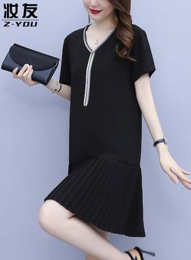 法式雪纺别致连衣裙女夏季新款黑色高端裙子宽松显瘦气质减龄短裙