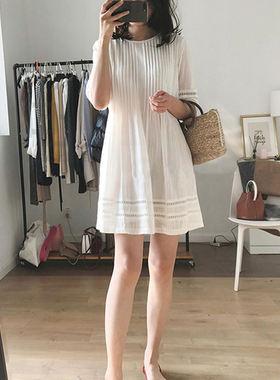 香港专柜女装白色雪纺连衣裙2021新款夏显瘦高端气质宽松裙子女