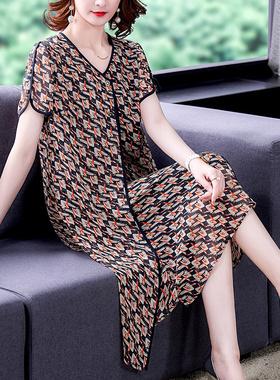 妈妈连衣裙2021新夏季显瘦高端大码女装胖mm宽松遮肚气质雪纺裙子