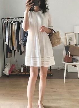 欧洲站春夏装2021新款法式高端气质小个子白色宽松雪纺连衣裙薄款