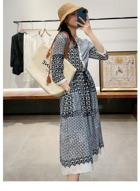 高端气质连衣裙女夏2021新款复古宽松显瘦V领收腰中长款雪纺长裙