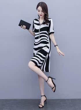 2021夏季新款贵夫人气质高端胖mm名媛风宽松遮肚子条纹雪纺连衣裙