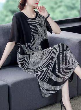 雪纺连衣裙2021夏季新款大码女装高端时尚气质宽松胖mm中长款裙子