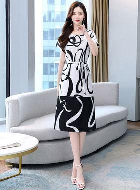 宽松雪纺连衣裙夏装女2021年新款高端气质妈妈修身遮肚夏天印花裙